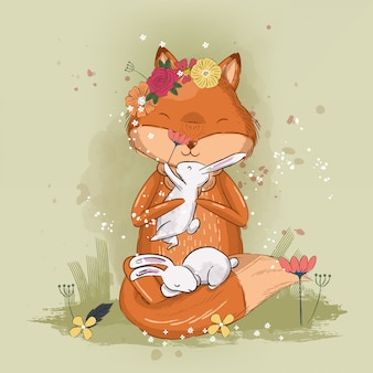 Cute little fox illustration for kids