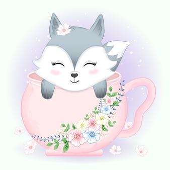 핑크 컵과 꽃 화 환에 귀여운 작은 여우