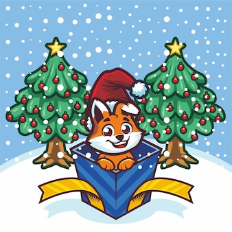 Cute little fox out of gift box on christmas