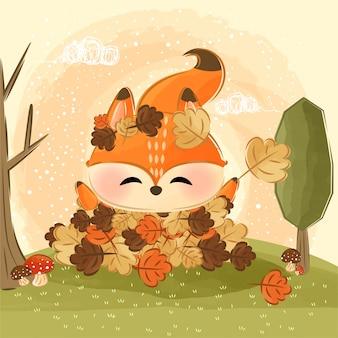 葉で遊ぶかわいいキツネ