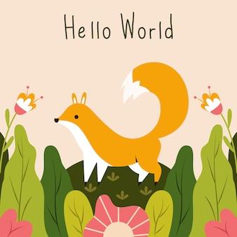 Cute little fox saying hello world vector illustration