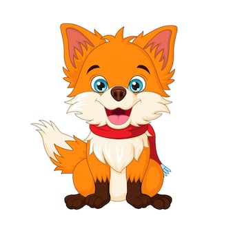 Cute little fox in scarf sitting