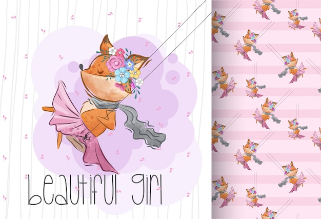 Cute little fox on a swing. seamless pattern animal