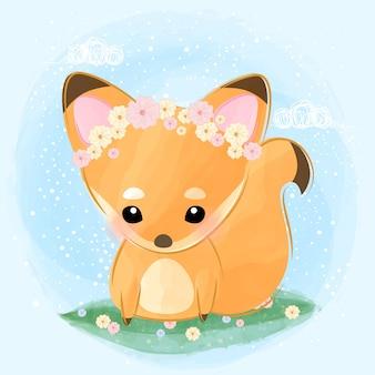 かわいいキツネは花の冠を着ます