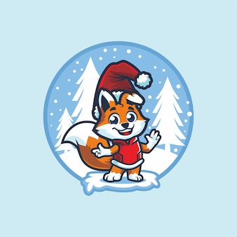 Cute little  fox with santa hat on christmas