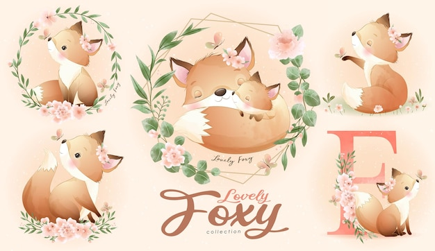 Cute little fox with watercolor illustration set