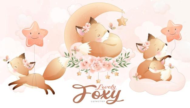 Piccola volpe sveglia con set di illustrazione dell'acquerello