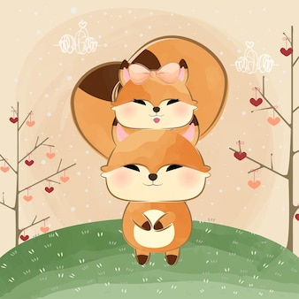 Cute little foxes hugging tails
