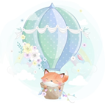 Cute little foxy in the air balloon