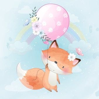 Cute little foxy flying with balloon