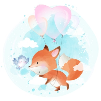 Cute little foxy flying with love balloon