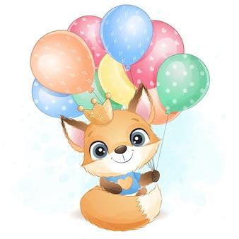 Милая маленькая лиса держит иллюстрацию воздушного шара