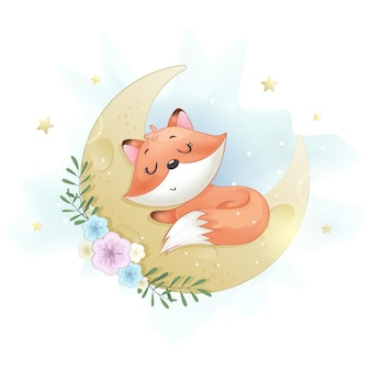 Милая маленькая лисица спит на луне