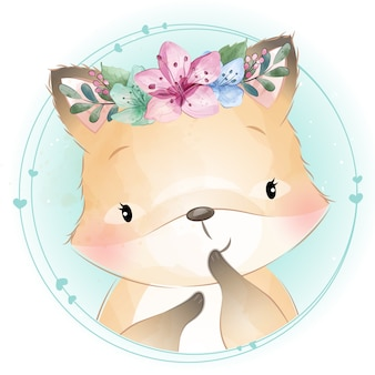 Cute little foxy with floral portrait