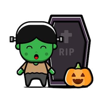 Cute little frankenstein character. halloween concept