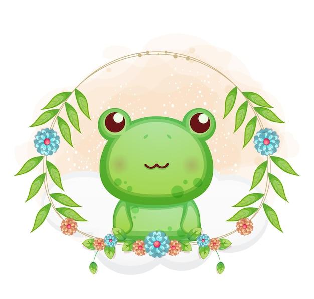 花の漫画イラストとかわいい小さなカエル。