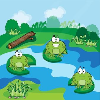 Симпатичные маленькие лягушки веселятся в пруду - вектор