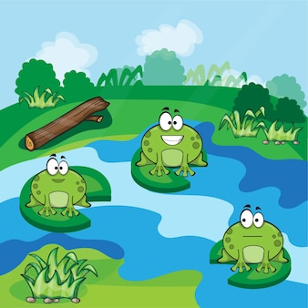 Cute little frogs having fun in the pond - vector