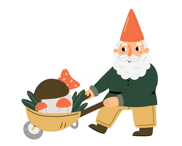 A cute little garden gnome or dwarf carrying a cart of mushrooms fairytale character