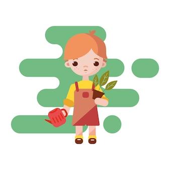 かわいい庭師の男の子。少年庭師が孤立しました。図。手に植木鉢を持つ庭師の少年