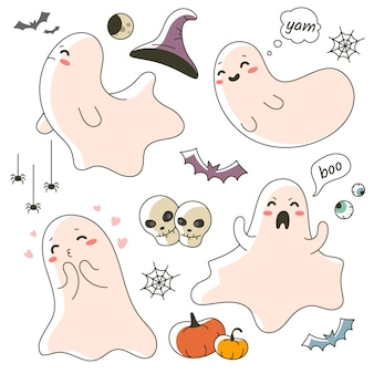 Cute little ghost character for halloween celebration