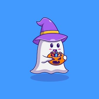 キャンディーで満たされたカボチャを運ぶかわいい小さな幽霊ベクトルイラストデザイン