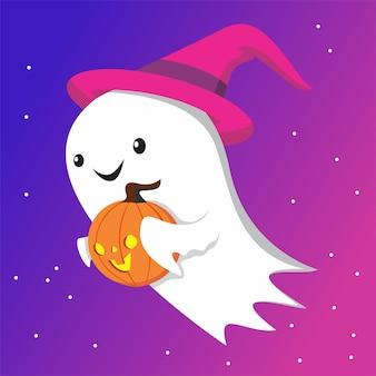 Cute little ghost with little pumpkin