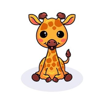 Cute little giraffe cartoon sitting