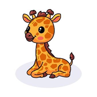 Мультфильм милый маленький жираф сидит
