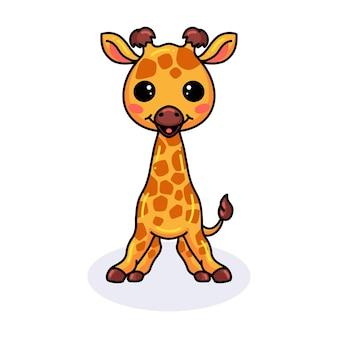 Cute little giraffe cartoon standing