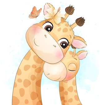 Милая маленькая иллюстрация жирафа матери и младенца