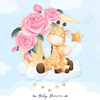 Cute little giraffe mother and baby sitting in the moon illustration