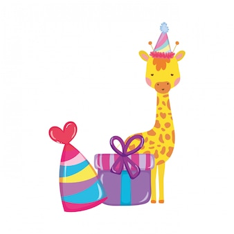 Cute and little giraffe with party hat character