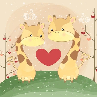 Cute little giraffes love shape