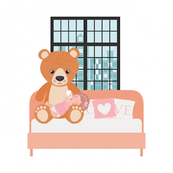 Cute little girl baby in the bedroom character