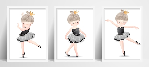 Cute little girl ballerina set with watercolor illustration
