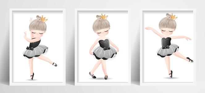 水彩イラストで設定されたかわいい女の子のバレリーナ