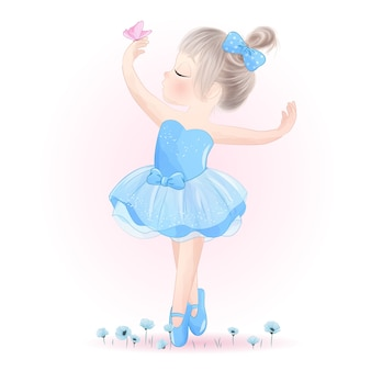Cute little girl ballerina with watercolor illustration