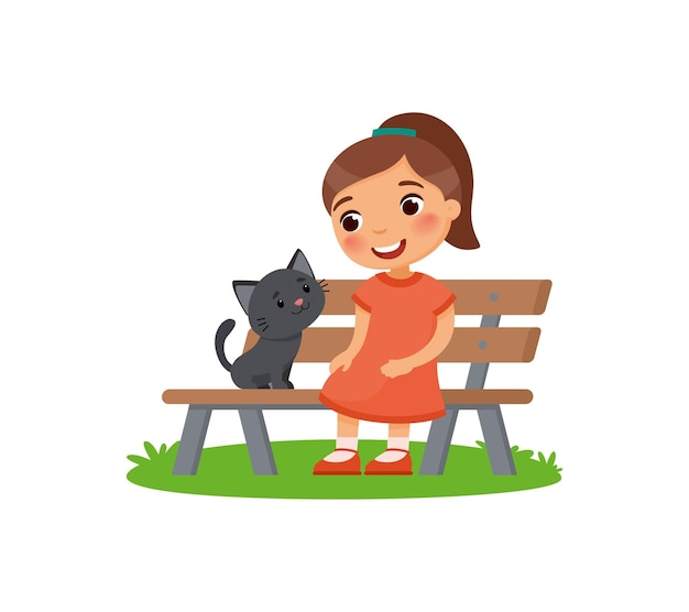 Cute little girl and black kitty are sitting on the bench