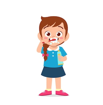 Cute little girl brushing teeth and holding toothpaste