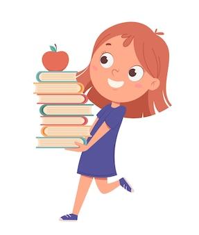 Милая маленькая девочка мультипликационный персонаж держит книги обратно в школу концепции забавный мультипликационный персонаж