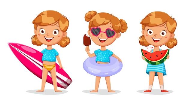 Cute little girl cartoon character set of three poses