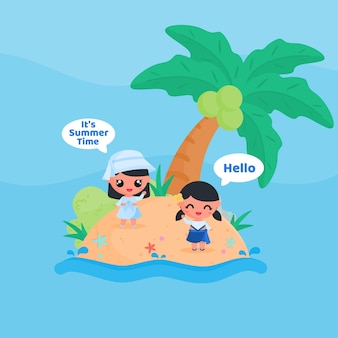 Cute little girl character greeting summer time at the beach in summer flat design cartoon style vector