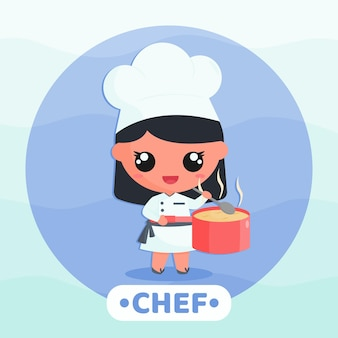 Cute little girl in chef uniform cooking soup cartoon character illustration