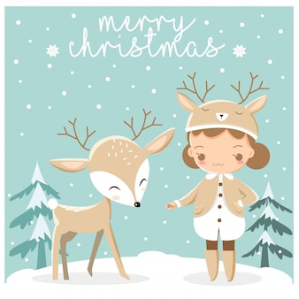 Cute little girl and deer in chirstmas greeting card
