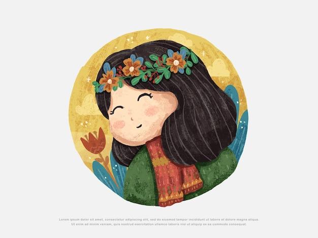 かわいい女の子のデザインイラスト