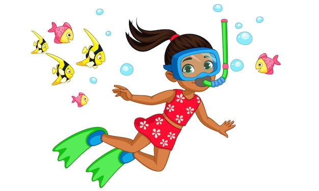 Cute little girl diver cartoon