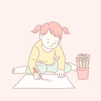 Милая маленькая девочка рисует картинки в стиле линии