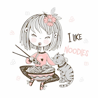 Cute little girl eating chopsticks noodles.