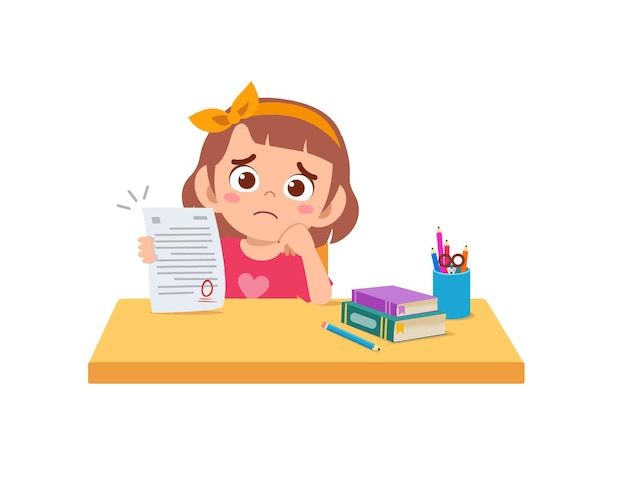 Cute little girl feel sad because get bad grade from exam